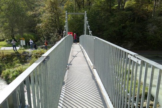 Aareschlucht - east entrance, bridge leading to the trail to the gorge