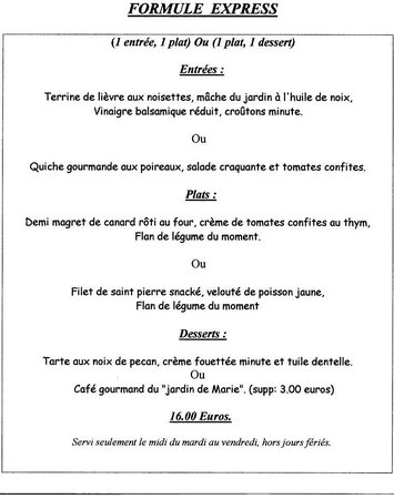 Menu formule midi picture of au jardin de marie saint for Au jardin singapore menu