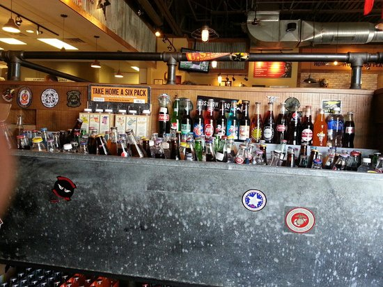 Mission BBQ : Glass bottled sodas to choose from including big red and cheerwine along with the normal sodas.
