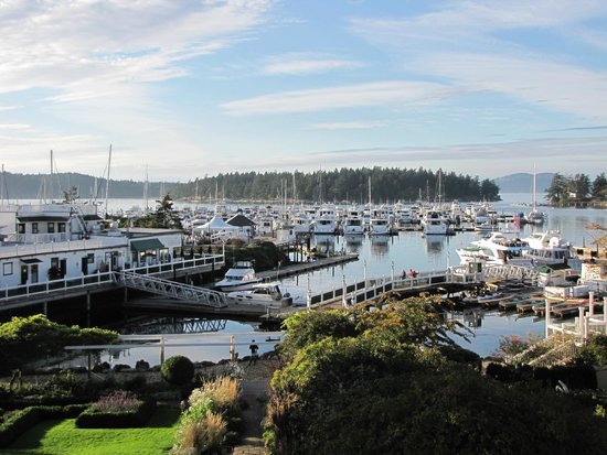Roche Harbor Colors Ceremony: View of harbor from balcony, Quarryman Hall