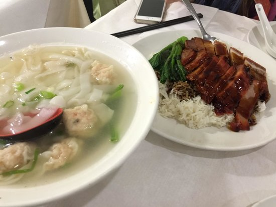 Dumplings' Legend: Won ton with ho fun in soup.  Char Sui & Crispy belly pork with rice.