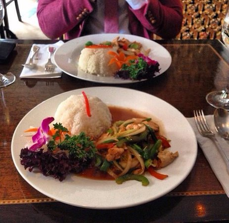 Thai Balcony: Lunch menu - vegetable stir fry with prawns and sticky jasmine rice. Fresh ingredients and super