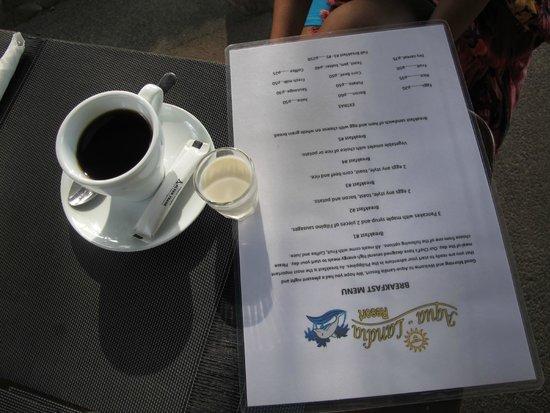 Aqua-Landia : Coffee and Menu