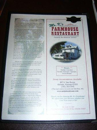 Mr K's Farmhouse: the menu