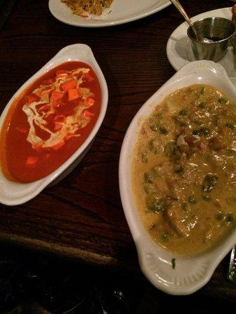 Paneer Tikka Masala and Veggie Korma. Both sweet, but great.
