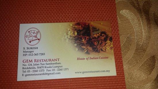 Gem Restaurant: Business Card