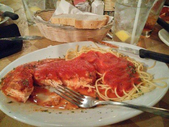 Luigi's: Chicken Parm w/ spaghetti.