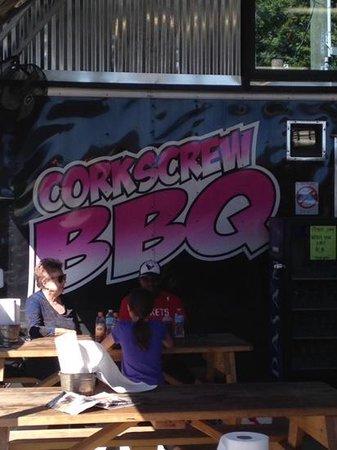 Corkscrew BBQ : Customers wait on Saturday opening!