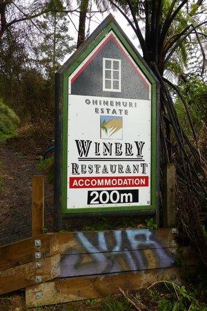 Ohinemuri Estate Winery and Restaurant sign