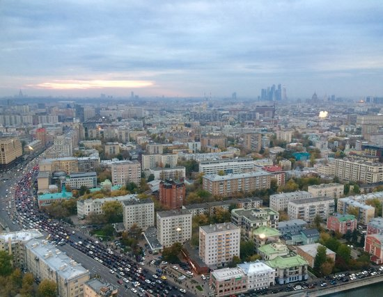 Swissotel Krasnye Holmy Moscow: View from City Space Bar on 33rd floor