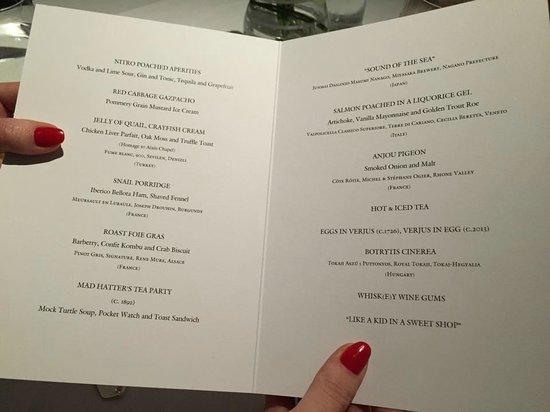 Bray on Thames, UK: menu