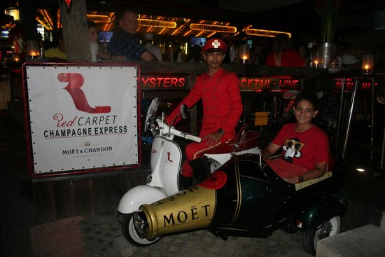Red Carpet Champagne Bar: First ride on my 14th Birthday on Red Carpet's Champagne bottle bike.