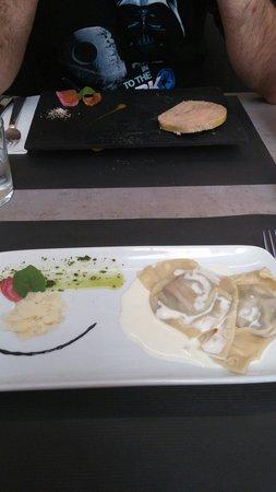 Au pique assiette : Foie gras et ravioles de serrano