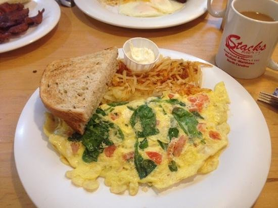 Florentine Omelet with hashbrowns and rye toast - Picture of ...