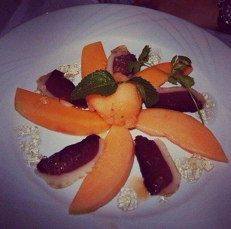 Entr e magret de canard et melon sorbet de melon et gel e for Restaurant le miroir