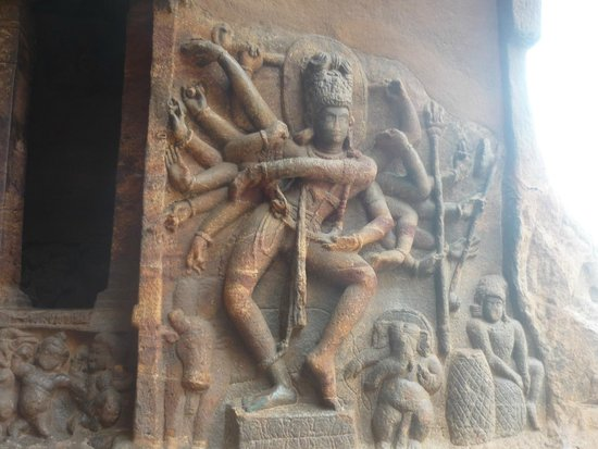 Badami, India: statue of Nataraja at cave 1