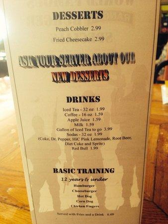 Cusseta, GA: Kids menu.