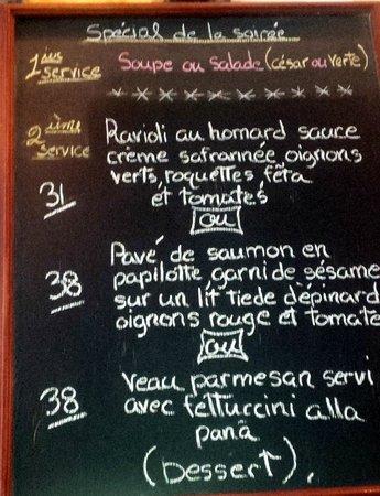 Ambrosia: Ardoise, menu change quotidiennement