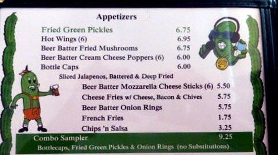 The Green Pickle: Menu