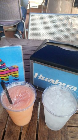 """Huahua's Taqueria: Cute """"table numbers """" and yummy strawberry margaritas"""