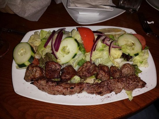 Kabob Bazaar: Lamb barg and ground beef soltani with salad