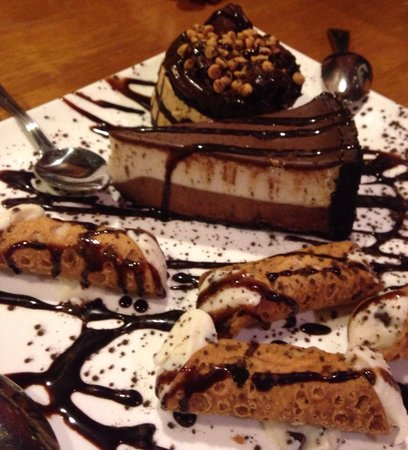 Bethel, CT: Delicious cannolis  , black and white mousse pie and chocolate peanut butter pie  .