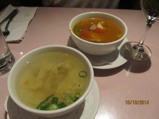 Pongsri Thai Restaurant: Tom Yum Google (spicy shrimp soup) and Gyow ...