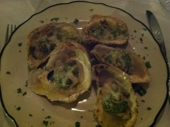The Dining Hall of The Hope and Glory Inn: Baked Oysters, first course
