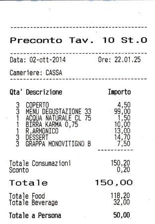 Puglianello, Italia: Scontrino