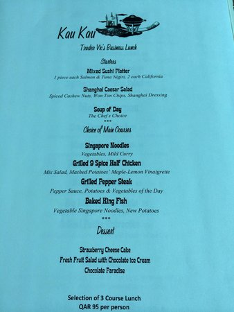 Trader Vic's: Business lunch menu, October 2014