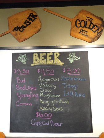 Sweet Tomatoes Neapolitan Pizza: Fine craft beer selection including local breweries: Cape Cod, Mayflower and Cisco