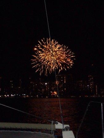 Friday Night Fireworks at Hilton Hawaiian Village Waikiki Beach Resort: Fireworks from boat.
