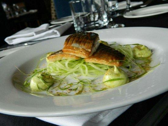 The Indigo Restaurant at The Ardington Hotel: Lightly pickled mackerel, cucumber to spaghetti, avocado puree, fennel pollen