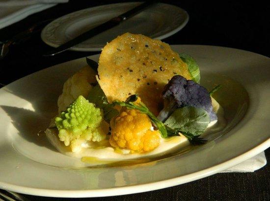 "The Indigo Restaurant at The Ardington Hotel: ""Cauliflower cheese with sea herbs"" coloured cauliflowers, cauliflower puree, parmesan crisp"