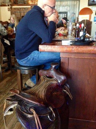 Silver Star Saloon & Grill: Saddle bar stool.