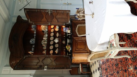 Chateau de la Barre: enormous china cabinet in the formal dining room