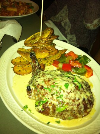 Typical Sicilian Ristorante : Pork chop with maple glaze. Plus, tower of power potato chips.
