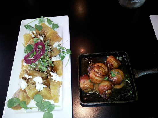 Saint John Ale House: Beet and Goat Cheese Salad, Bacon Wrapped Scallops