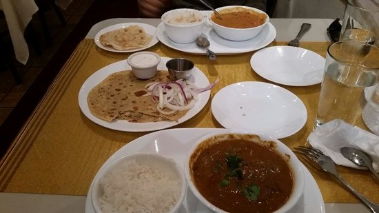 Aahaar an Indian Eatery: Chicken Tikka Masala and Mutton Korma with Aloo paneer.  Delicious!