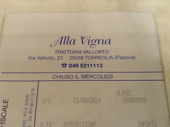 Torreglia, Italia: the bill