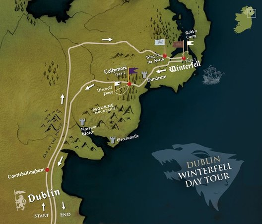 Dublin winterfell day tour route map picture of game of thrones game of thrones tours dublin winterfell day tour route map gumiabroncs Image collections