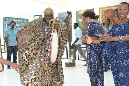 Lagos, Nigeria: Oba (King) of Ido Osun dancing at the Nike Art Centre