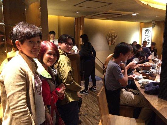 Katsukura, Sanjo Honten: Our group of 6 queuing