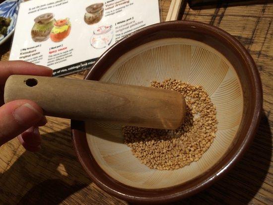 Katsukura, Sanjo Honten: Grinding our own sesame seed to make own sauce
