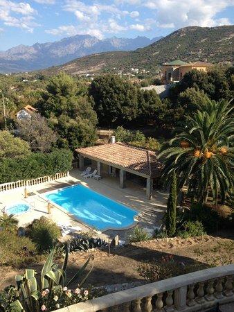 The Manor B&B: vue plongeante sur le jardin et la piscine