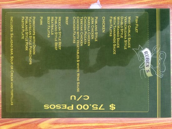 Ruben's Restaurant Isla Mujeres: New special menu