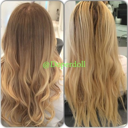 Natural blonde Balayage Ombre with soft waves , Picture of