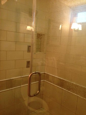 Anderson Inn: 3 shower heads and little venting window in room 207