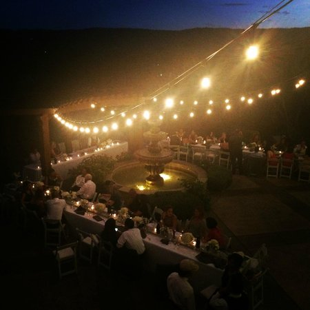 The Inn at Croad Vineyards: Lower Courtyard at night. Site for our wedding reception