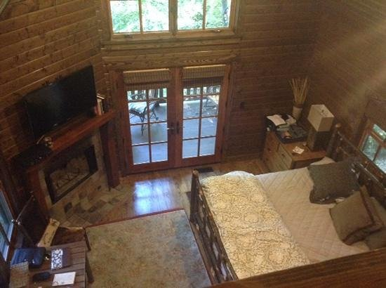 Cheshire Cabin & Treehouse Rentals: View from loft